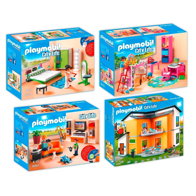playmobil 9266 67 70 71 modernes wohnhaus set 3 4er set. Black Bedroom Furniture Sets. Home Design Ideas
