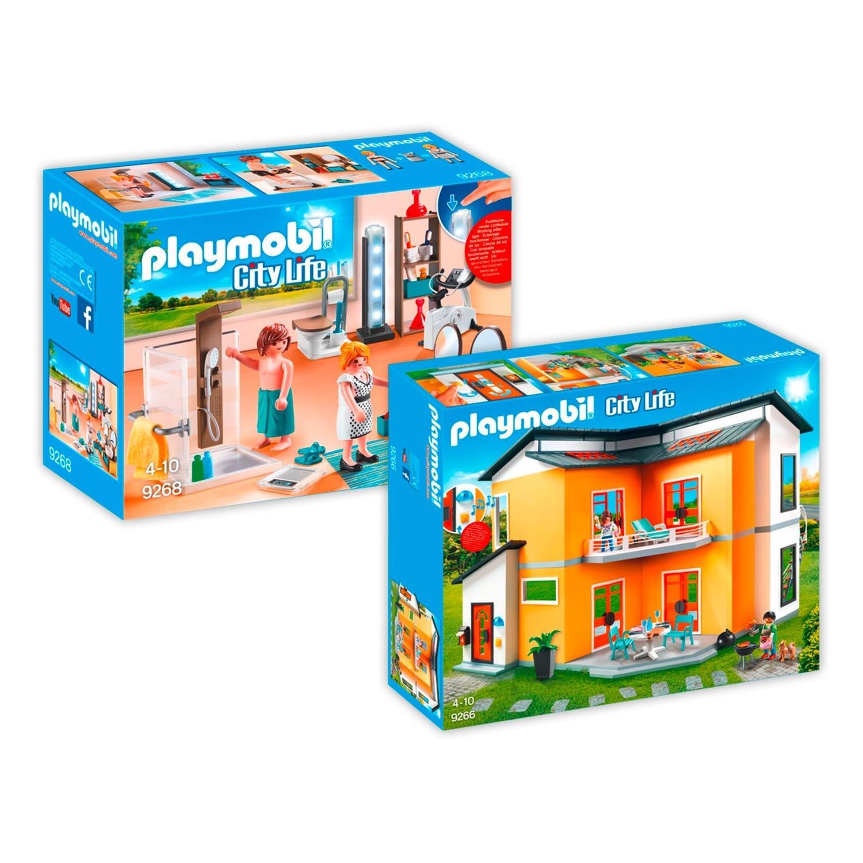 playmobil 9266 9368 modernes wohnhaus set 2 2er set 9266. Black Bedroom Furniture Sets. Home Design Ideas