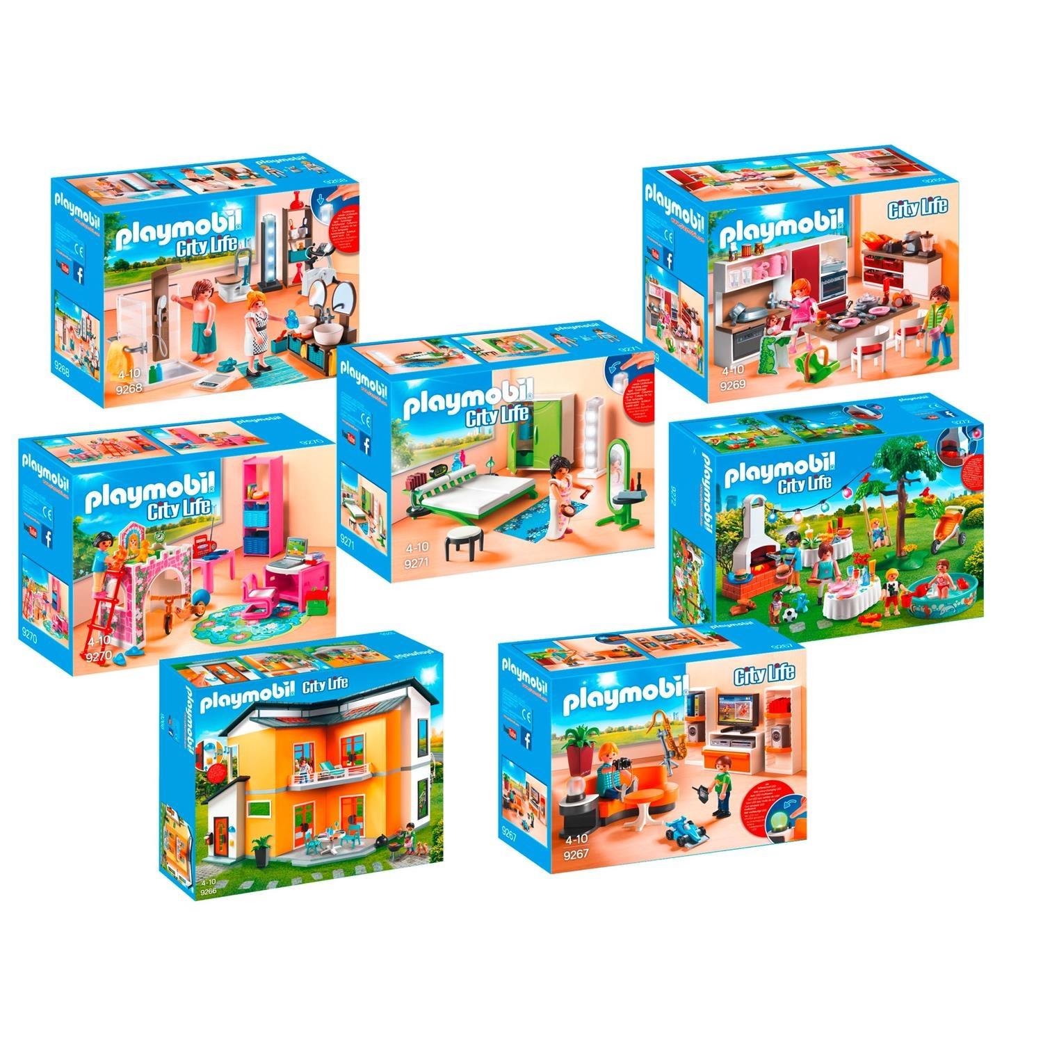 Playmobil 9266 9272 modernes wohnhaus set 1 7er set for Wohnzimmer 9267