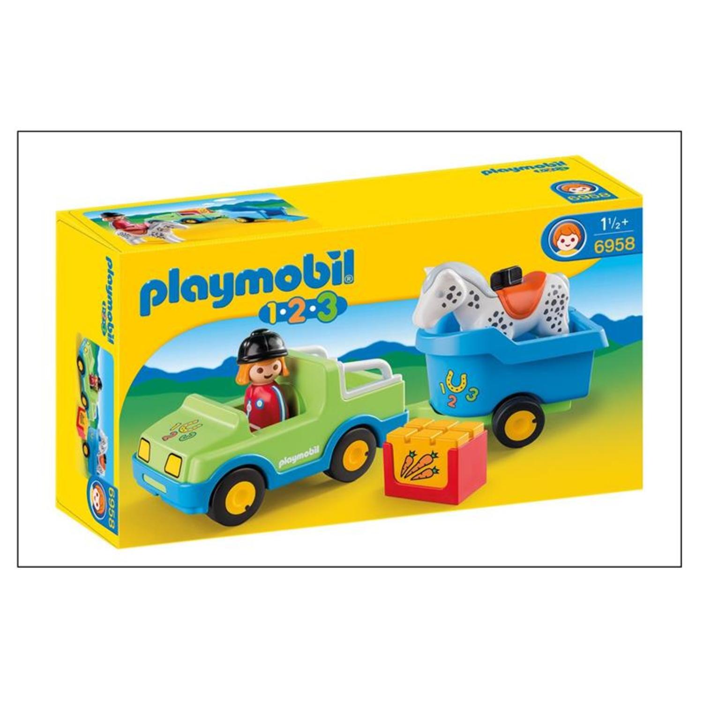 playmobil 6958 1 2 3 pkw mit pferdeanh nger. Black Bedroom Furniture Sets. Home Design Ideas
